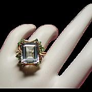 Vintage Icy Emerald Cut Aquamarine and Peridot 14K Ring
