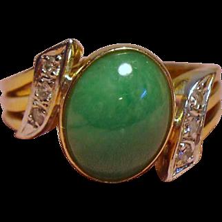 Vintage Apple Green Jade Diamond 14K Ring