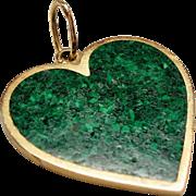 Vintage Malachite Inlay Heart 14 Karat Gold Pendant Charm