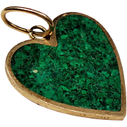 Vintage Malachite Inlay Heart 14K Pendant Charm