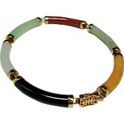 Vintage Chinese Multiple Color Jade Curved Link 14K Gold Bracelet