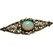 Vintage 14K Gold Fiery Opal Ornate Brooch