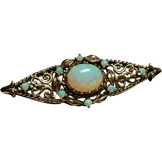Vintage 14K Gold Fiery Opal Ornate Brooch
