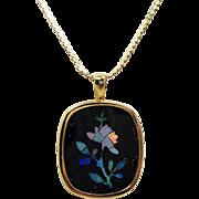 Estate 14K Opal Mosaic Flower Black Onyx Pendant Necklace