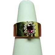 Vintage Meyer Treasure Chest 14K Ruby Diamond Cigar Band Ring