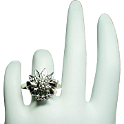 Vintage Art Deco Diamond Bow 14K White Gold Ring