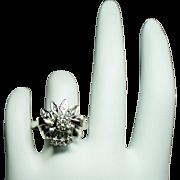 Vintage Art Deco Diamond Bow 14K White Gold Ring