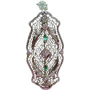 Vintage Art Deco 14K White Gold Filigree European Cut Diamond Simulated Emeralds Pendant or Brooch