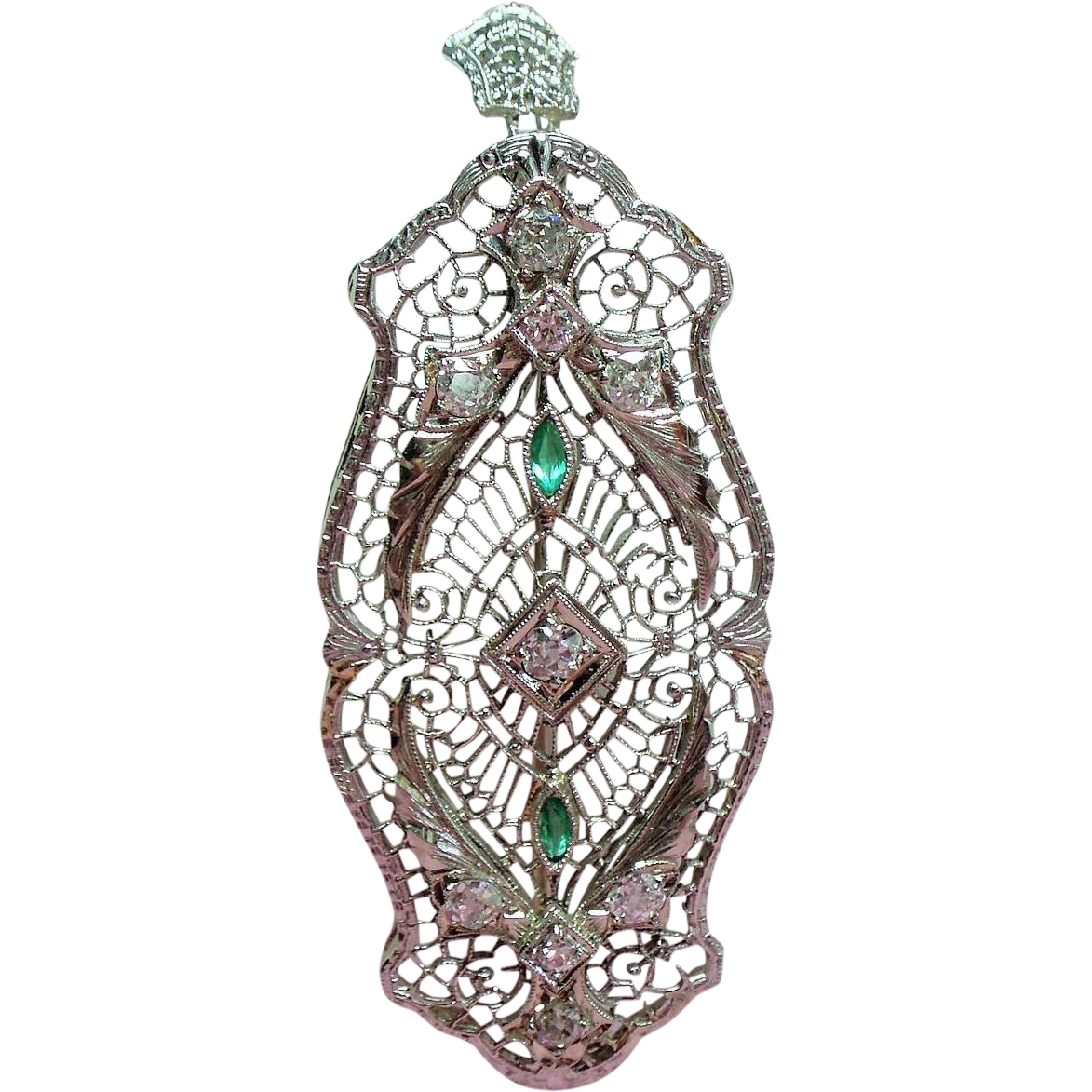 Vintage Art Deco 14K White Gold Filigree Old European Cut Diamond Simulated Emeralds Pendant or Brooch
