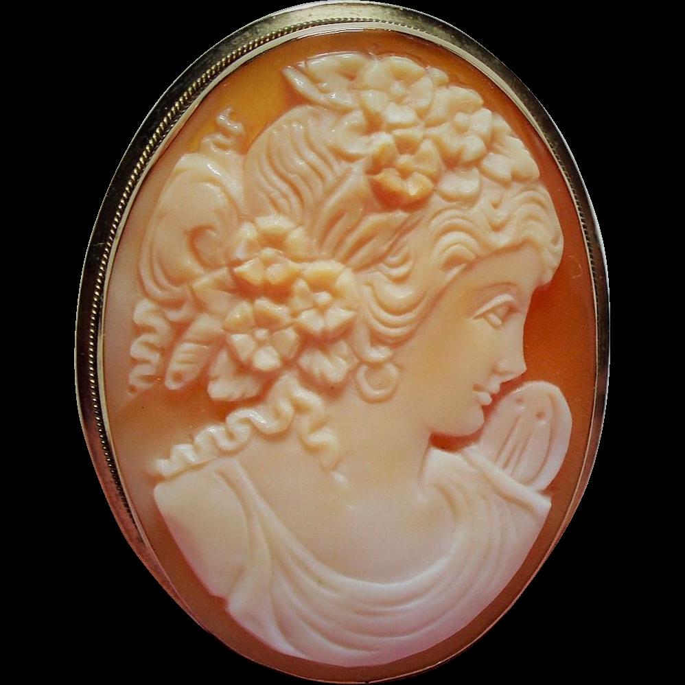 Vintage 14K Carved Shell Cameo of Flora Brooch Pendant