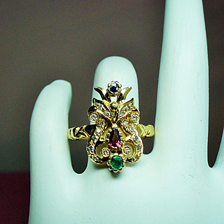Antique Belle Epoque Precious Gemstone 18K Ring