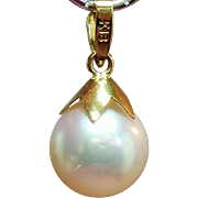 Vintage Cultured Pearl 18K Gold Pendant