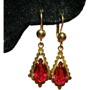 Vintage Faceted Red Pear Shaped Glass Stone 18K Gold Drop Pierced Earrings