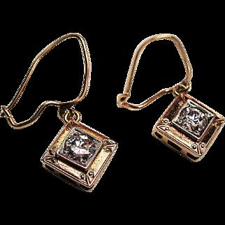 Vintage 1920's Transitional Cut Diamond 14K Gold Platinum Drop Earrings.