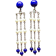 Vintage Art Deco Sterling Glass Bead Faux Pearl Long Drop Earrings