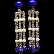 Vintage Art Deco Sterling Glass Bead Faux Pearl Long Drop Earrings