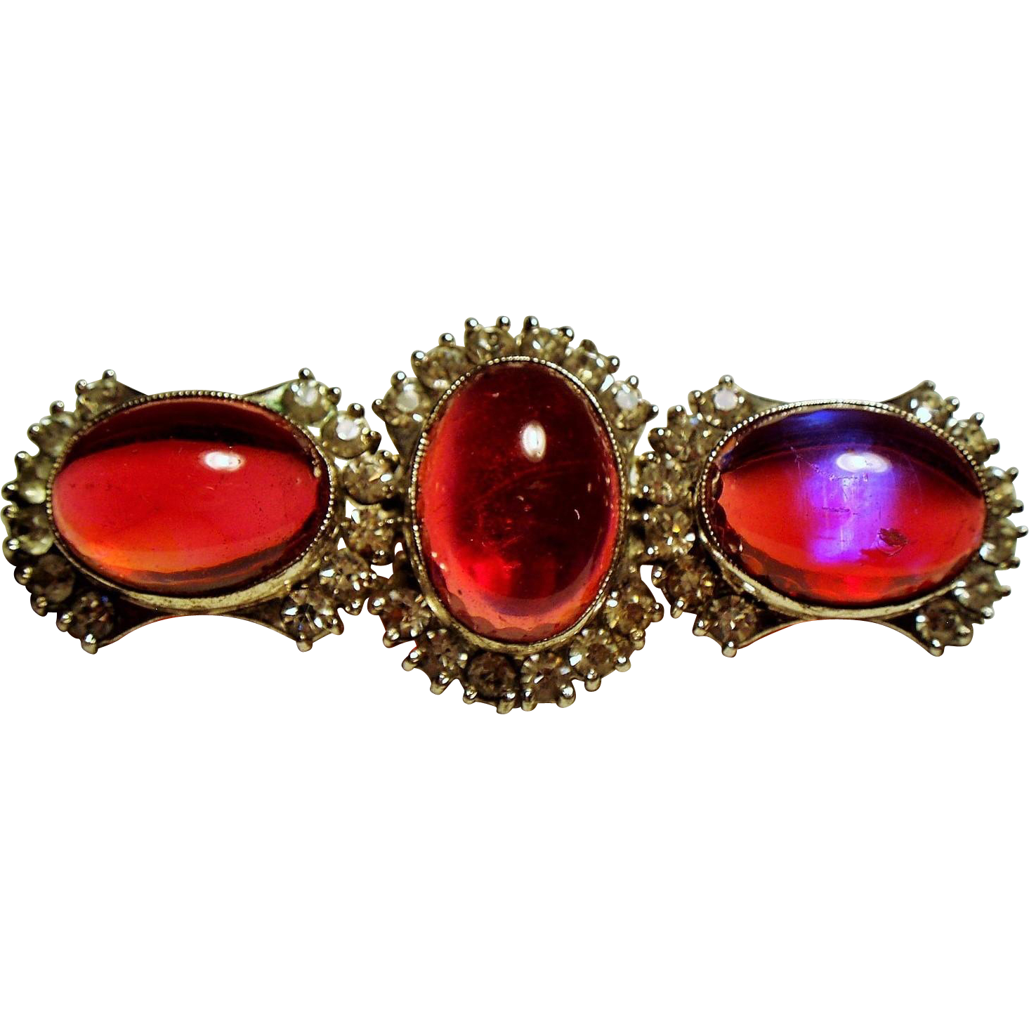 Vintage Glowing Dragons Breath Cabochon Three Stone Sterling Brooch