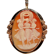 Vintage The Three Graces Large Cameo 14K Pendant