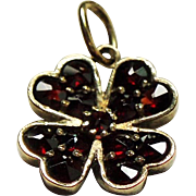 Antique Victorian Rose Cut Garnet Four Leaf Clover Gilt Silver Pendant Charm