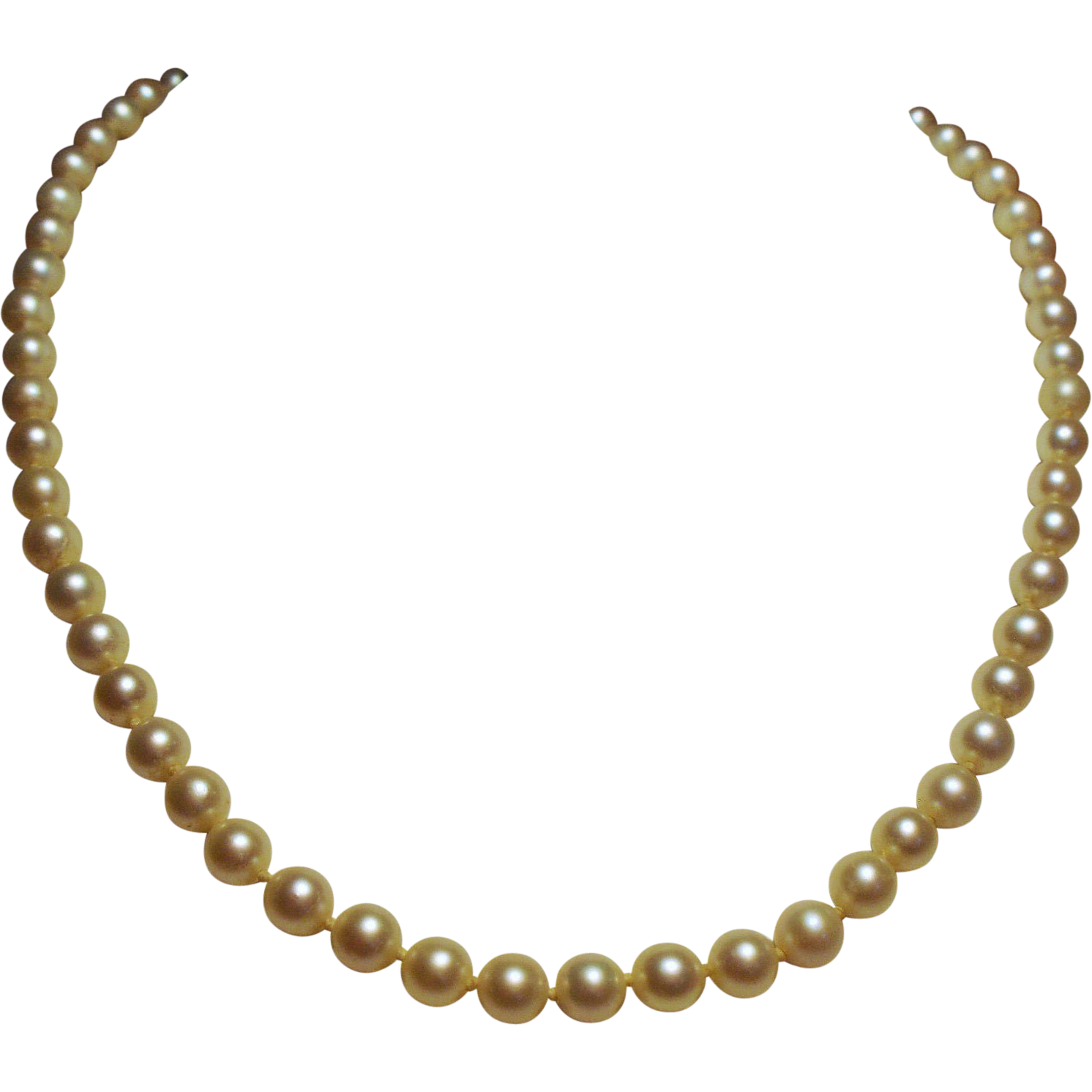 Vintage Cultured Pearl Choker Necklace 14K White Gold Filigree Clasp