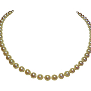Vintage 6MM Cultured Pearl Princess Length Necklace 14K White Filigree Gold Clasp