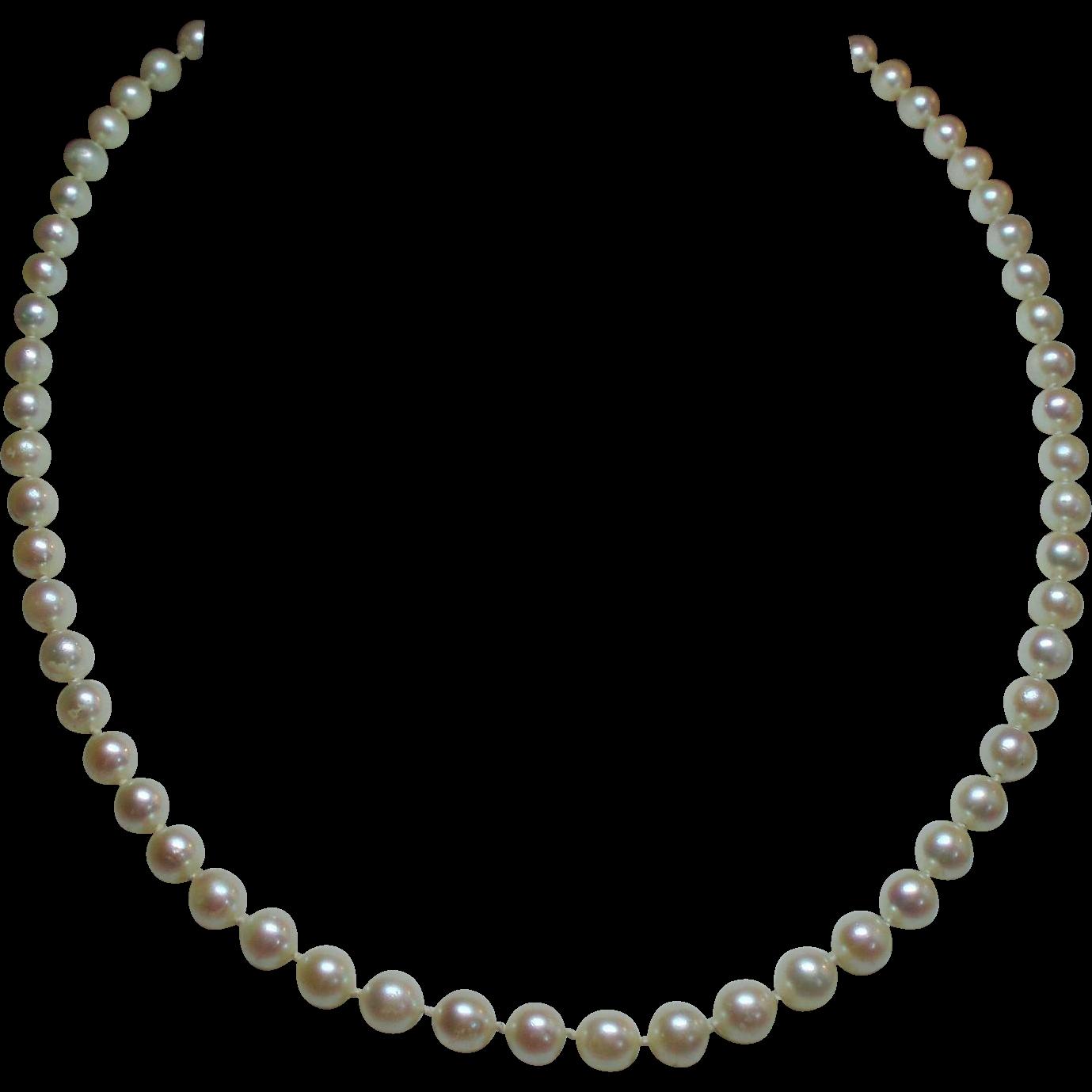 Vintage 6 Millimeter Cultured Pearl Princess Length Strand Necklace 14KWG Filigree Clasp