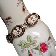 Vintage Seven Days of the Week Carved Shell Cameo 800 Silver Bracelet