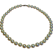 Vintage 7.5 Millimeter Cultured Pearl Choker Necklace 14K White Gold Filigree Clasp