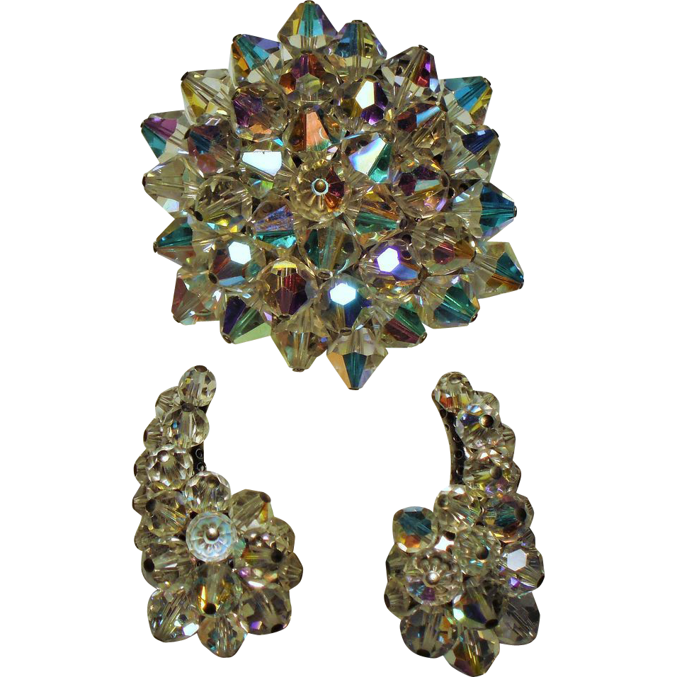 Vintage Aurora Borealis Crystal Bead Brooch & Climbing Earrings Demi Parure