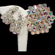 Vintage Aurora Borealis Crystal Bead Cluster Brooch & Climbing Earrings Set