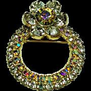 Vintage Aurora Borealis Rhinestone Circle Brooch Dimensional Flower