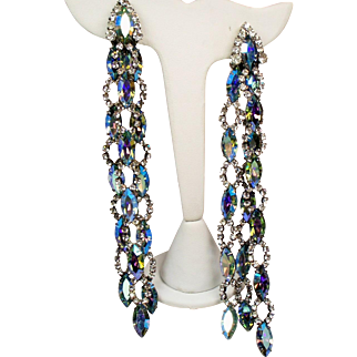Vintage Runway Aurora Borealis Rhinestone Extra Long Shoulder Duster Earrings