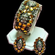 Vintage Italian Hand Wrought 800 Silver Golden Rhinestone Hinged Bangle Bracelet Earrings Set