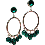 Vintage Accessocraft NYC Huge Drop Hoop Earrings Drippy Green Faceted Crystals