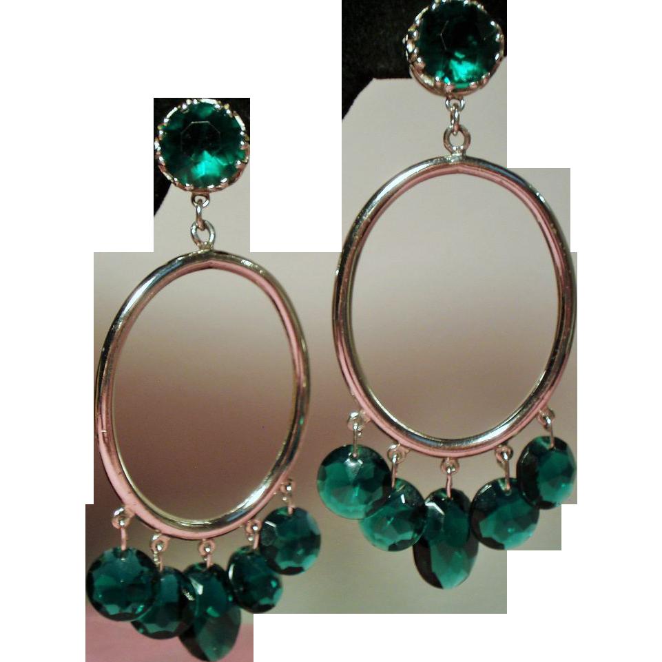 Vintage Accessocraft NYC Huge Drop Hoop Earrings Drippy Green Faceted Crystals