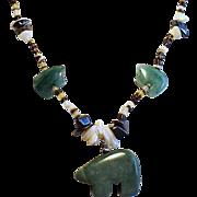 Vintage  Native American Carved Aventurine Bear Heishi Bead Long Fetish Necklace