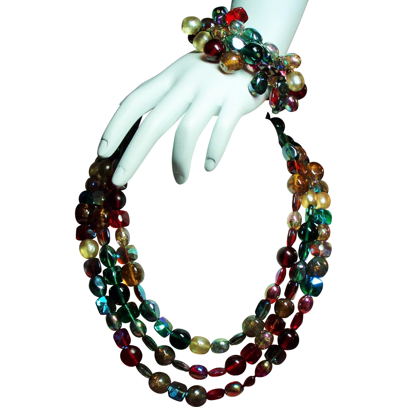 Vintage Alice Caviness Jewel Colored Glass Bead Triple Strand Necklace Wrap Bracelet Set