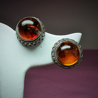 Vintage Amber Cabochon High Dome Sterling Earrings
