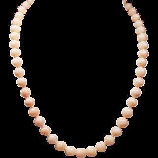 Vintage Angel Skin Coral Bead Princess Length Necklace