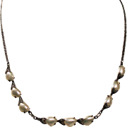 Antique Edwardian River Pearl Marcasite Sterling Necklace