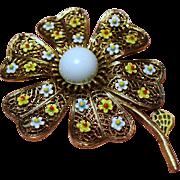 Vintage Signed Art Flower Brooch