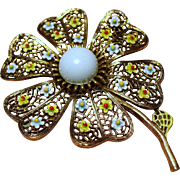 Vintage Signed Art Flower Brooch