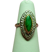 Vintage Art Deco Jade Diamond Navette 14K Art Carved Ring