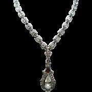 Vintage Art Deco Enamel Faceted Crystal Drop Pendant Necklace