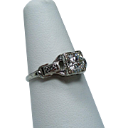 Vintage Art Deco .60 Carat European Cut Diamond Solitaire 18K White Gold Engagement Ring