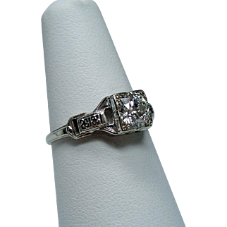 Art Deco .60 Carat Old European Cut Diamond Solitaire 18K White Gold Engagement Ring