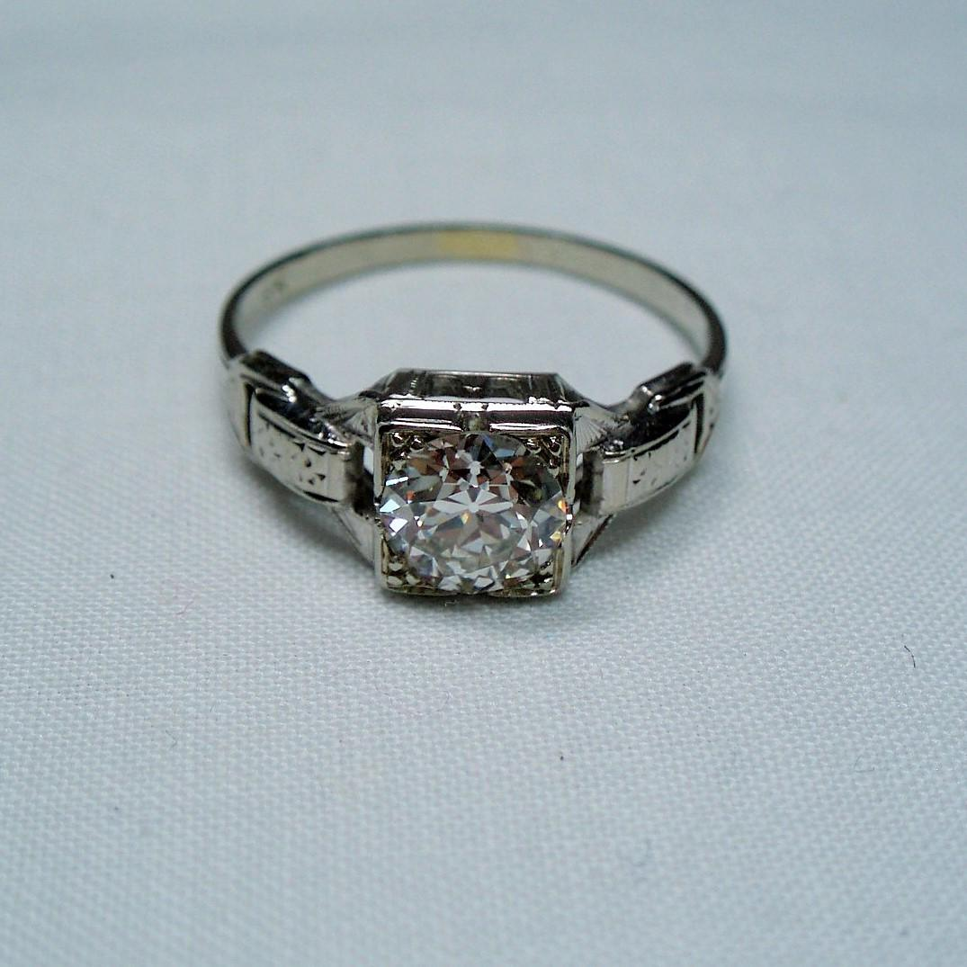 Old european cut elegant diamond solitaire ring in platinum and 18k - Roll Over Large Image To Magnify Click Large Image To Zoom