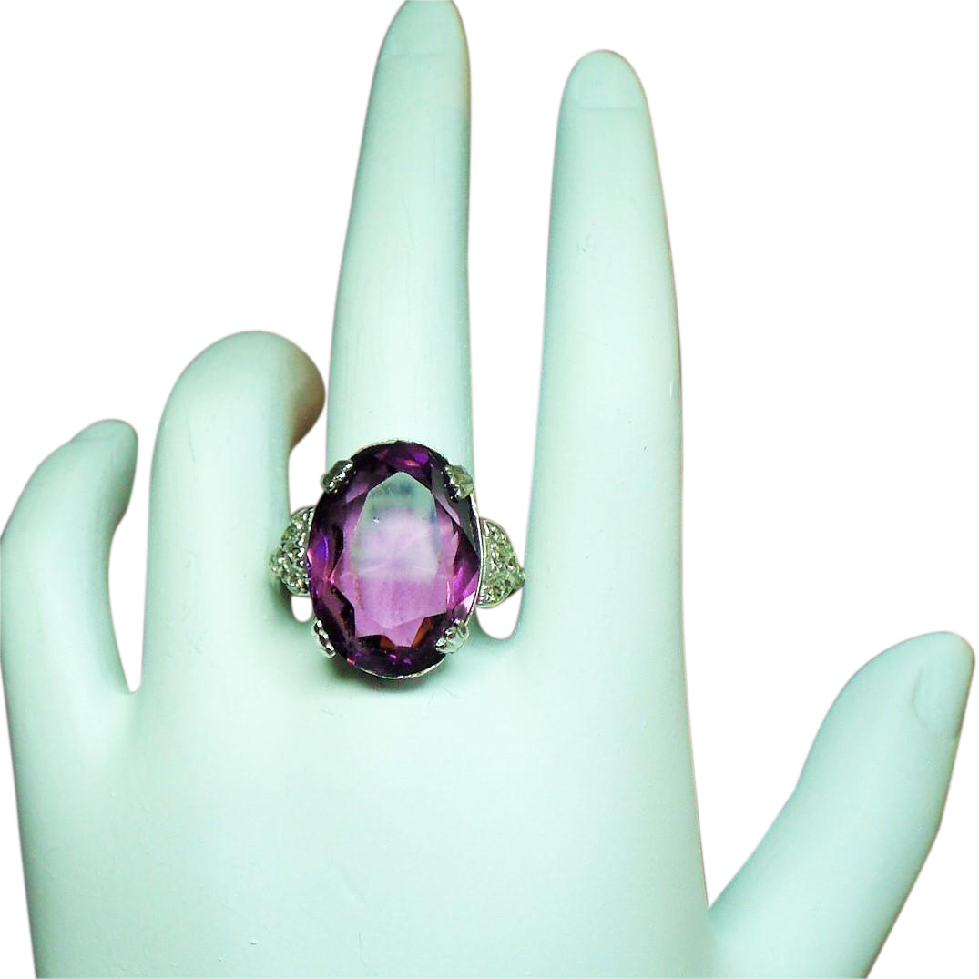 Vintage Art Deco Large Faceted Faux Amethyst Gold Filled & Sterling Ring