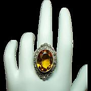 Vintage Art Deco Faux Faceted Citrine Marcasite Ring