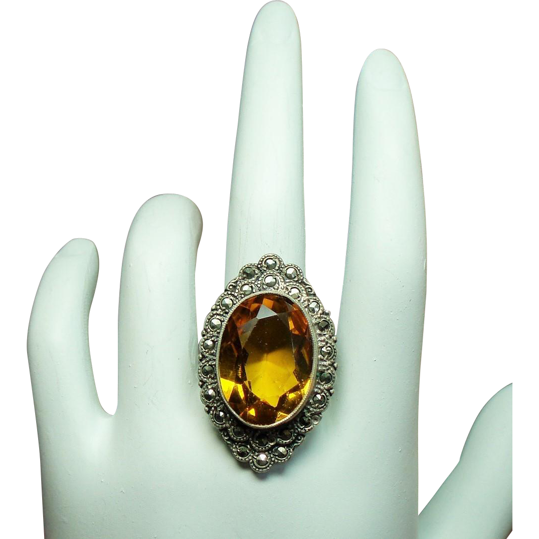 Vintage Art Deco Faux Faceted Citrine Marcasite Ring